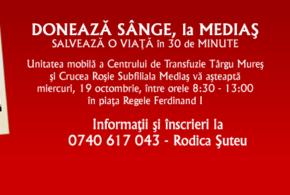 Mediaș | O nouă sesiune mobilă de donare de sânge